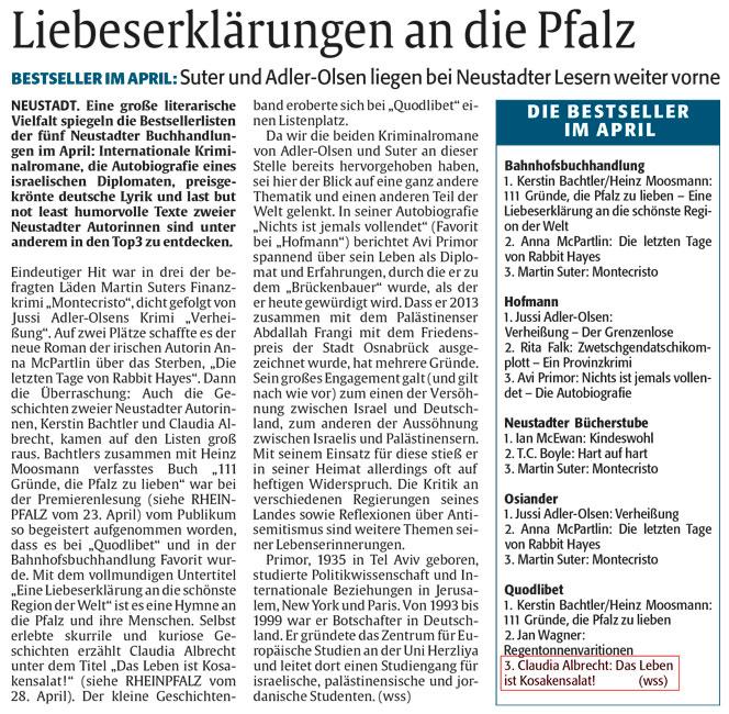 "Claudia Albrechts Buch ""Das Leben ist Kosakensalat!"" unter den Bestsellern im April!"